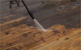 Deck power wash and stain